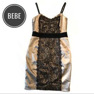 Bebe satin and lace cocktail dress